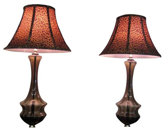 Smoked Glass Lamps - Striking pair of Italian Smoked Glass Lamps - mid-century style updated with bell shaped leopard print lampshades. These lamps are most likely from famous Italian glass maker - Murano; the paper tag is no longer present that would verify this assumption.
