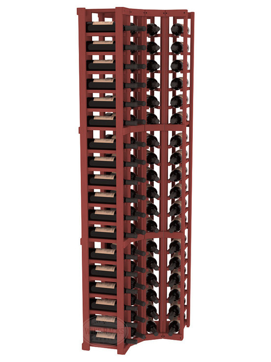 Wine Racks America® - 4 Column Wine Cellar Corner Kit in Pine, Cherry Stain - Get the most storage in your wine cellar with unique corner wine racks. We construct every rack to our industry-leading standards and back them up with our lifetime warranty. Designed with emphasis on functionality, these corner racks fit seamlessly into our modular line of wine racks.
