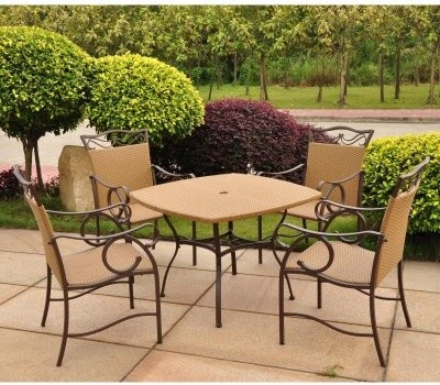 Valencia Wicker Resin Patio Set - Seats 4 modern-patio-furniture-and-outdoor-furniture