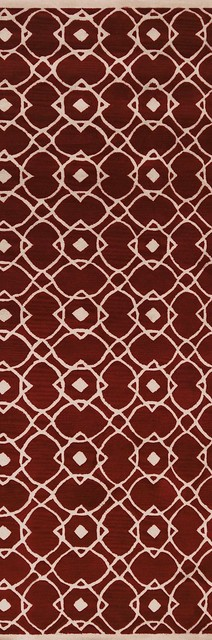 "Transitional Goa Hallway Runner 2'6""x8' Runner Red Clay, Parchment Area Rug transitional-rugs"