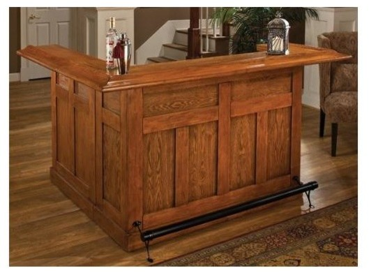 2 Pc L Shaped Oak Home Bar Set Contemporary Indoor Pub