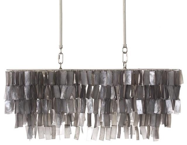Large Rectangle Hanging Capiz Pendant Gray Contemporary