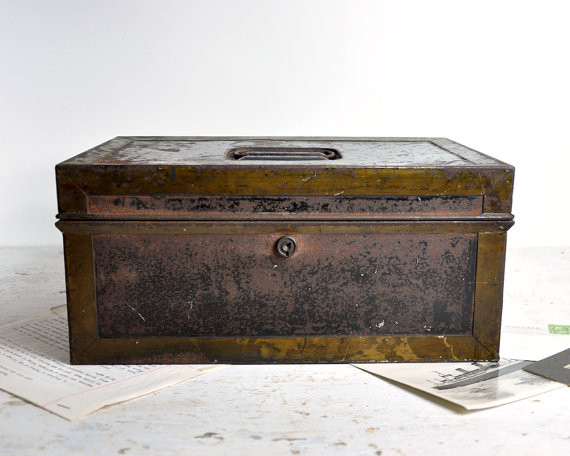Vintage Rustic Metal Box/Industrial Storage/Cash Box by Haven Vintage eclectic shoeracks