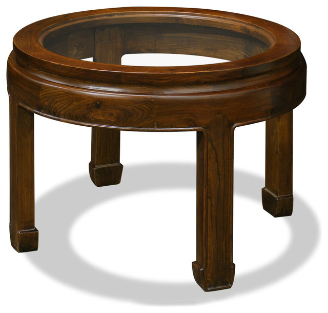 Elmwood Ming Round Coffee Table /End Table asian-side-tables-and-end-tables