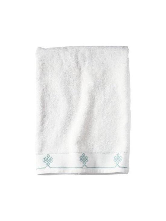 Serena & Lily - Aqua Gobi Bath Towel - We believe a bath towel should be one of life's little luxuries. Woven in Portugal from supremely soft cotton, they're lofty, absorbent and quick to dry. The embroidered motif was borrowed from our best-selling sheets, adding the perfect color pop to classic white bath and hand towels. Best of all  they won't fade, fray or wear out.