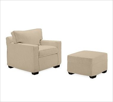 PB Square Upholstered Ottoman, Polyester Wrap Cushions, Twill Parchment traditional-footstools-and-ottomans