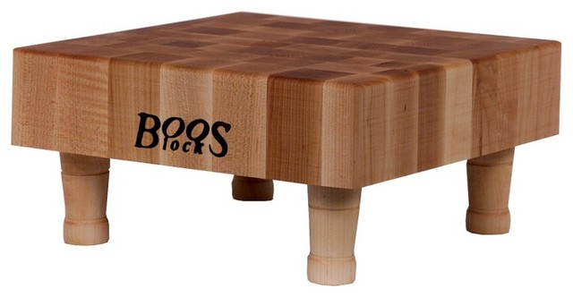Boos Small Square Maple Cutting Board On Wooden Legs