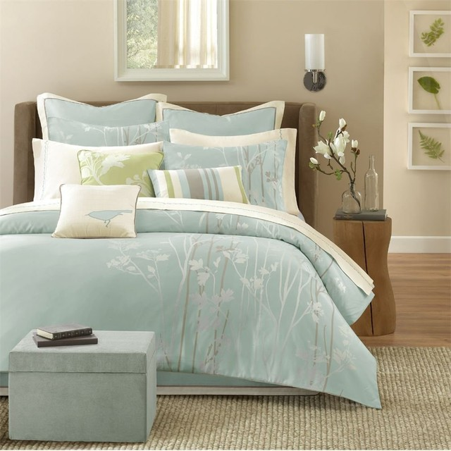 Athena 7 Piece Jacquard Comforter Set Blue Modern Comforters And Comforter Sets By Amazon