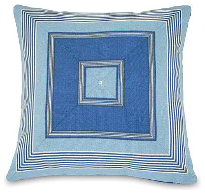 Navy Mitered Stripe Outdoor Throw Pillow contemporary outdoor pillows
