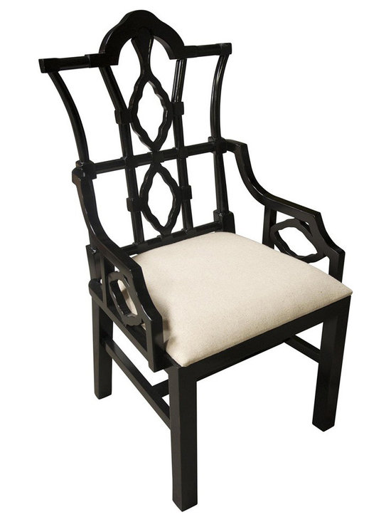 """Noir - Noir Emperor Distressed Black Arm Chair - Featuring natural, simple and classic designs, Noir products supply a timeless complement to a variety of interiors. The majestic carved lines of the Emperor arm chair create a commanding presence in dining rooms. The furnishing's distressed black finish is hand-applied to the birch frame for a weathered finish, while the padded seat provides comfort. Available in light linen fabric.  23""""W x 24""""D x 42.5""""H."""