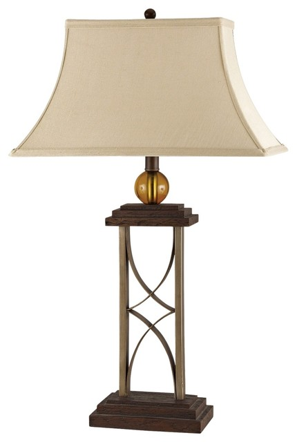 iron wrought iron and dark oak finish table lamp traditional table. Black Bedroom Furniture Sets. Home Design Ideas