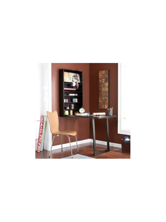 Wildon Home � - Southern Southern Enterprises Warwick Wall-mount Craft Desk, Black - The perfect craft space and storage solution is finally within reach. This innovative, wall mount craft desk is the perfect choice for the crafter who always needs more space. This creative desk folds up when not in use, to provide an efficient storage solution with an elegant, uncluttered appearance. This wall mount craft desk opens to reveal four shelves and four hanging racks-the perfect storage options to accommodate a variety of crafting supplies. Add this crafty organizing solution to your craft room, home office, living room, bedroom or dorm; the amazing functionality and convenience of this wall mount desk make it the perfect selection for any room! Features: -Material: MDF and PB.-Convenient wall mount design.-Patent D632115.-Includes 4 fixed shelves and 4 fixed hanging racks.-Distressed: No.Dimensions: -Dimensions: 69.75'' Height x 23.25'' Width x 45.75'' Depth.-Overall Product Weight: 57 lbs.