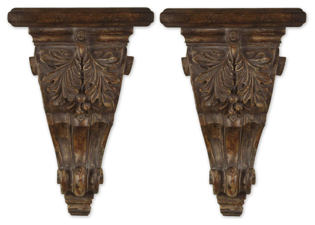 Old World Tuscan Wall Brackets Shelves Transitional