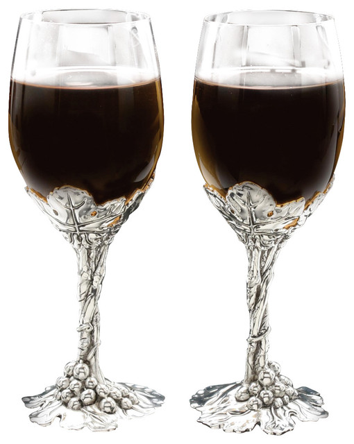 Grape Wine Glass Set/2 - Traditional - Wine Glasses - by Arthur Court