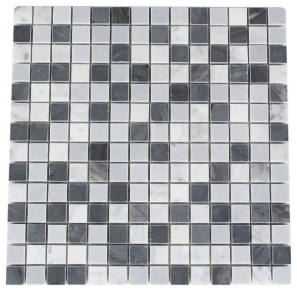 Carrera, Dark & Light Bardiglio Squares traditional-tile
