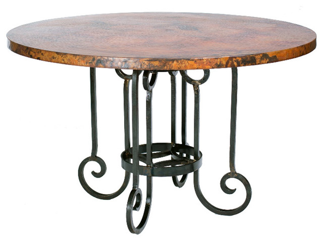 curled leg round dining table with 48 inch copper top by