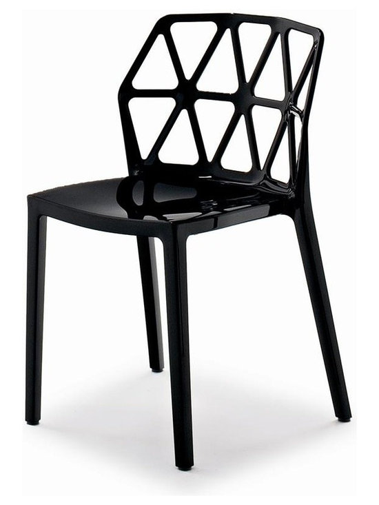 Calligaris - Alchemia Modern Chair (Set of 2) (Glossy Blac - Color: Glossy BlackPictured in Glossy Black. Modern, brightly colored chair. Striking backrest design composed of cut-out triangles resembling the structure of an atom. Technopolymer monoblock made using the Airmoulding process makes Alchemia an extremely sturdy, lightweight and easy to clean chair. Stackable up to 6 chairs high. Assembly required. Seat height: 17.75 in.. 19.5 in. W x 20.125 in. D x 31.125