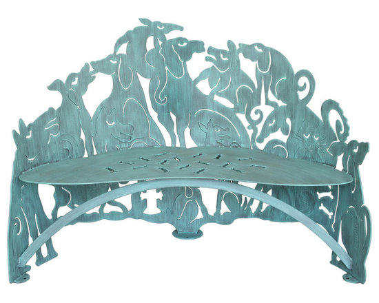 Cricket Forge - Dog Bench - No bones about it, this bench is a great choice for the canine lover who enjoys expressing their creative, artistic, eclectic and fun side. This pack of dogs appear unaware of the cat hanging out with them. A scattering of bones cut out in the seat add even more fun to this special piece. Hand painted in our exclusive Verdi color.