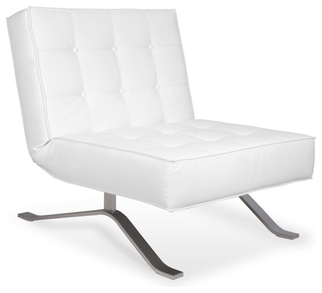 Wave One White Lounge Chair Modern Armchairs And