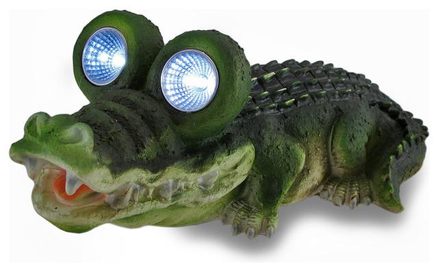 Alligator solar eyes outdoor led solar accent light garden for Alligator lawn decoration