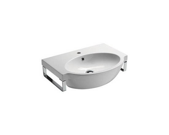 "GSI - White Ceramic Curved Wall Mounted Bathroom Sink - This white ceramic wall mounted bathroom sink is made in Italy by GSI. Stylish wall mounted sink includes overflow and an option for either a single faucet hole (as shown), no hole, or 3 holes. Sink dimensions: 25.60"" (width), 6.90"" (height), 18.90"" (depth)"