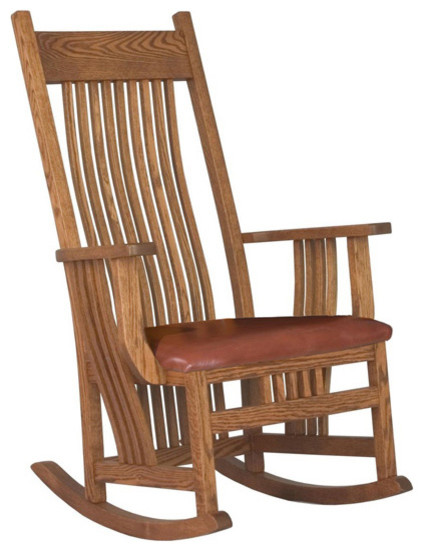 Chelsea Home Troyer Wide Seat Rocker - Black Leather traditional-rocking-chairs