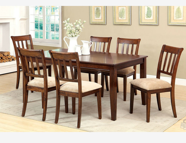 F 7 pc brown cherry wood dining room set chairs fabric for Cherry wood dining room set