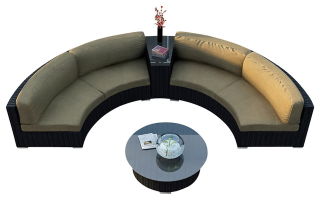 Urbana Eclipse 4 Piece Round Sectional Set, Heather Beige Cushions modern-patio-furniture-and-outdoor-furniture