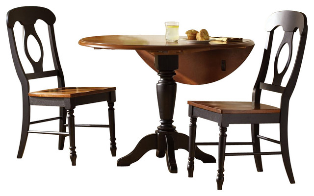 Liberty furniture low country black 3 piece 42 inch round for Traditional black dining room sets