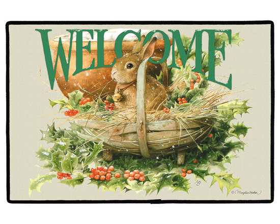 425-Christmas Bunny Doormat - 100% Polyester face, permanently dye printed & fade resistant, nonskid rubber backing, durable polypropylene web trim. Use on the porch or near your back entrance to the house. Indoor and outdoor compatible rugs that stand up to heavy use and weather effects