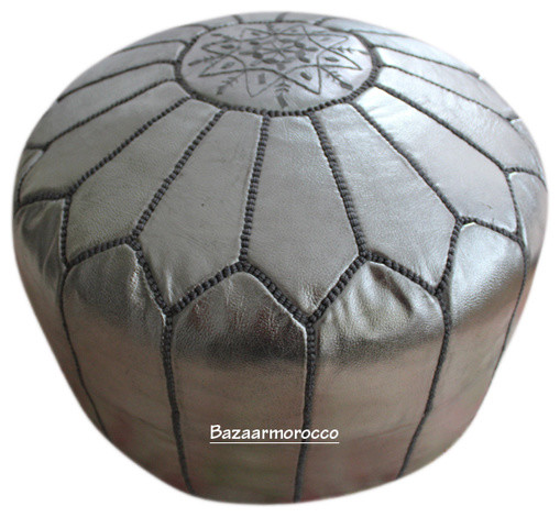 moroccan leather footstool pouf silver floor pillows and poufs new york by bazaarmorocco. Black Bedroom Furniture Sets. Home Design Ideas