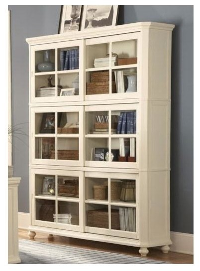 Barrister Bookcase Glass panel sliding doors 3 enclosed shelves are he