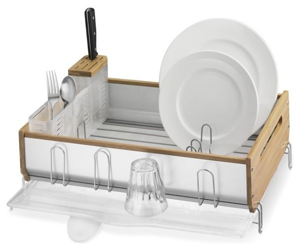 simplehuman Bamboo-Trim Dish Rack modern dish racks