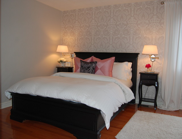 damask wallpaper in master bedroom traditional bedroom