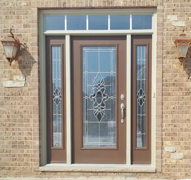 Decorative glass front door with sidelites hand beveled for Decorative glass for entry doors