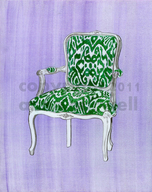 Greek Ikat Chair Print by Annechovie eclectic artwork