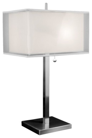 Contemporary Bedroom Brushed Nickel Table Lamps With