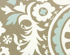 Suzani Powder Blue Contemporary Drapery Fabric contemporary-drapery-fabric