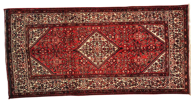 Oriental Rug Hand Knotted Wide Runner Persian Hamadan Rug Sh13799 traditional-rugs