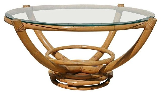 vintage bamboo glass swivel coffee table tropical coffee tables. Black Bedroom Furniture Sets. Home Design Ideas