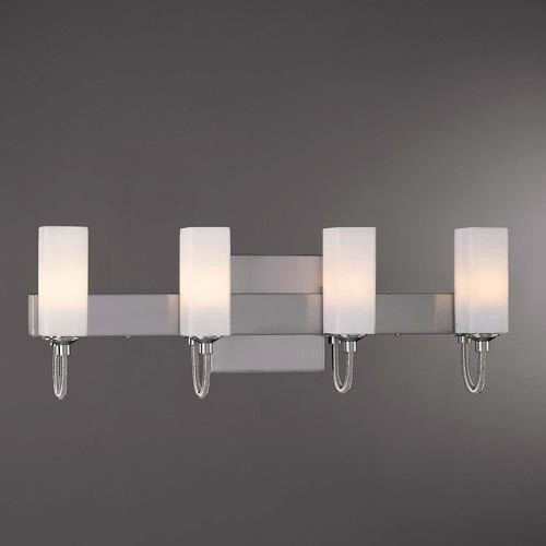 Brushed Nickel Ada Four Light Bath Fixture Contemporary Bathroom Lighting And Vanity