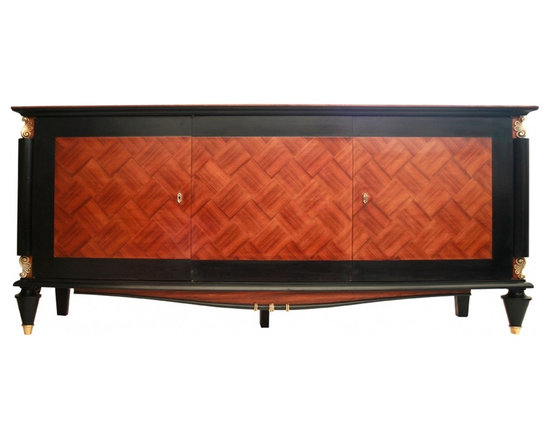 """art deco mahogany sideboard - Made in the  1940's or early 1950's in France this piece has the distinctive flavor of the French designer Leleu , clear line made of dark wood (mahogany) with inlaid  doors . The use of Ebony and brass hardware  indicates a good provenance . Francis Jourdain said about simple form :""""... the disappearance of ornament is the proof of the revolution of civilization and notion of beauty ...."""" The column and inlay are also a trademark of Leleu"""