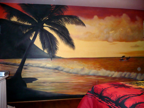 Sunset beach wall mural by ml murals michigan other for Beach sunset wall mural