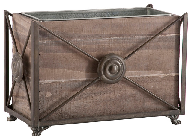 Pair Noella Wood Metal French Planter Decorative Box transitional-storage-bins-and-boxes