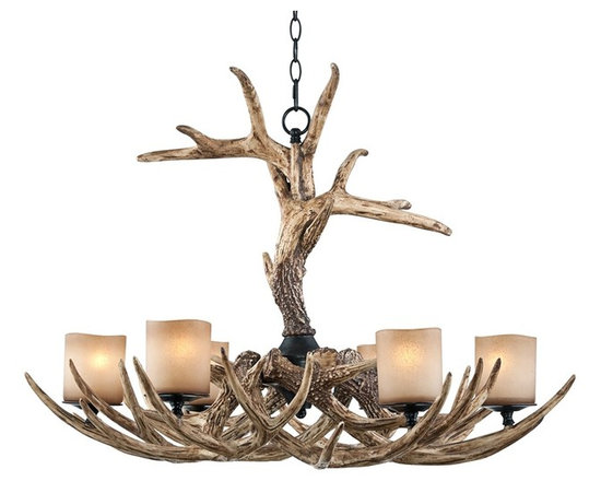 """Lamps Plus - Country - Cottage Faux Antler 35"""" Wide 6-Light Chandelier - Perfect for bringing the feel of a rustic lodge to your home decor this faux antler chandelier has an incredibly natural look. The six lights are styled to look as if they are candles glowing gracefully from inside the antlers. It has both a graceful feel and rustic quality at the same time. Faux antler construction. Faux """"candles"""". Takes six 60 watt candelabra bulbs (not included). 35"""" wide. 24"""" high. Includes 6 feet chain and 12 feet wire. Canopy is 6"""" wide. Hang weight is 34 pounds.  Faux antler construction.   Faux """"candles"""".   Use this large chandelier in a foyer or dining room.  Takes six 60 watt candelabra bulbs (not included).   35"""" wide.   24"""" high.    Includes 6 feet chain and 12 feet wire.   Canopy is 6"""" wide.   Hang weight is 34 pounds."""