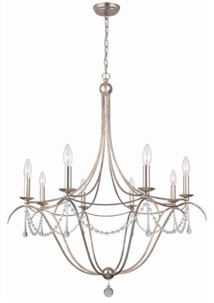 Chandelier with hand-painted wrought iron and hand-cut crystal beading and accen modern-chandeliers