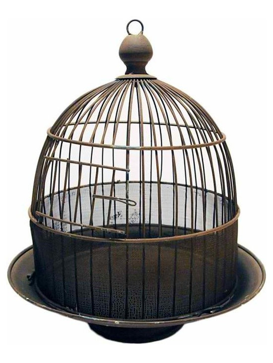 Wire Dome Birdcage - Vintage inspired pedestal birdcage. Top portion is removable for placing plants or objects inside. Finial hook for hanging.