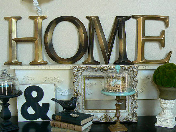Pottery barn style wall letters home by shabby chic home for Kitchen letters decoration
