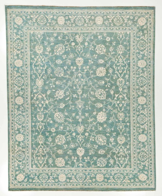 Hand woven silk area rug with borders blue and white 8x9 1 for Blue and white oriental rug