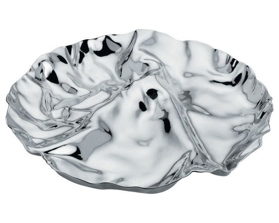 "Alessi - Alessi ""Pepa"" 3 Section Hors d'Oeuvre Dish - This crumpled dish is one smooth operator. It's cast in highly polished, high-quality, 18/10 stainless steel that looks like molten silver. Yet it's crafted with three sections to hold your hors d'oeuvres, your jewelry or your imagination."